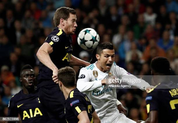 Cristiano Ronaldo of Real Madrid in action against Jan Vertonghen of Tottenham during the UEFA Champions League Group H match between Real Madrid and...