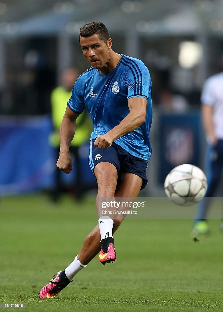 <a gi-track='captionPersonalityLinkClicked' href=/galleries/search?phrase=Cristiano+Ronaldo+-+Soccer+Player&family=editorial&specificpeople=162689 ng-click='$event.stopPropagation()'>Cristiano Ronaldo</a> of Real Madrid in action during a training session on the eve of the UEFA Champions League Final at Stadio Giuseppe Meazza on May 27, 2016 in Milan, Italy.