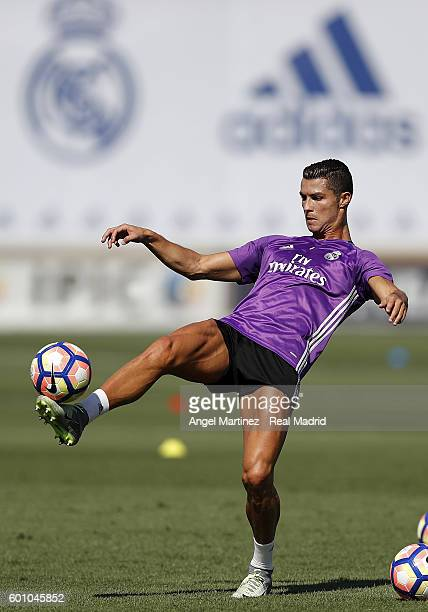 Cristiano Ronaldo of Real Madrid in action during a training session at Valdebebas training ground on September 9 2016 in Madrid Spain