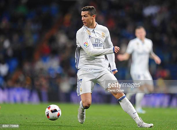 Cristiano Ronaldo of Real Madrid in action during the Copa del Rey Quarter Final First Leg match between Real Madrid CF and Celta Vigo at Bernabeu on...