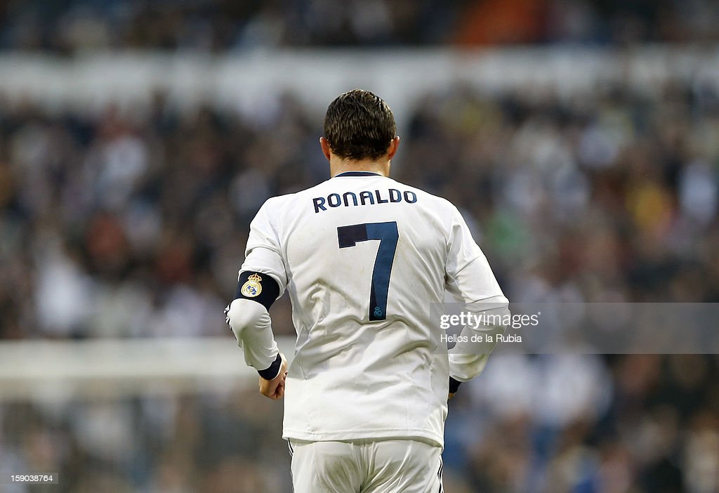 <a gi-track='captionPersonalityLinkClicked' href=/galleries/search?phrase=Cristiano+Ronaldo+-+Jogador+de+futebol&family=editorial&specificpeople=162689 ng-click='$event.stopPropagation()'>Cristiano Ronaldo</a> of Real Madrid in action during the La Liga match between Real Madrid and Real Sociedad at Estadio Santiago Bernabeu on January 6, 2013 in Madrid, Spain.
