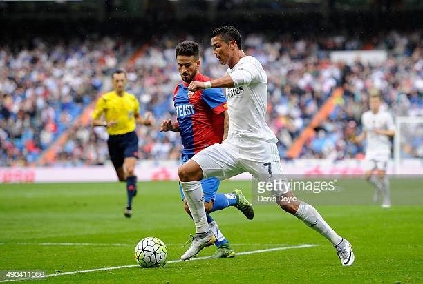 Cristiano Ronaldo of Real Madrid in action during the La Liga match between Real Madrid CF and Levante UD at estadio Santiago Bernabeu on October 17...