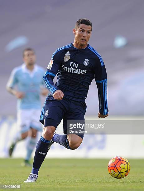 Cristiano Ronaldo of Real Madrid in action during the La Liga match between Celta Vigo and Real Madrid at Estadio Balaidos on October 24 2015 in Vigo...