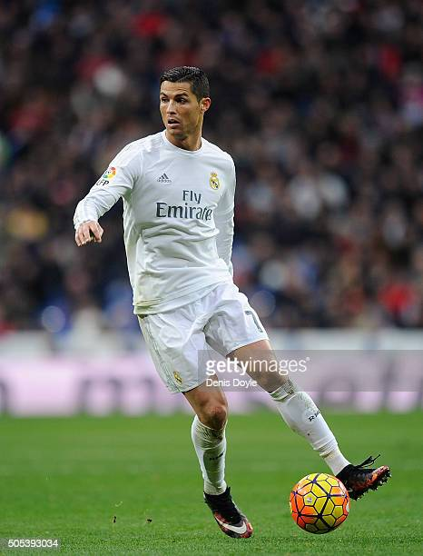 Cristiano Ronaldo of Real Madrid in action during the La Liga match between Real Madrid CF and Sporting Gijon at Estadio Santiago Bernabeu on January...