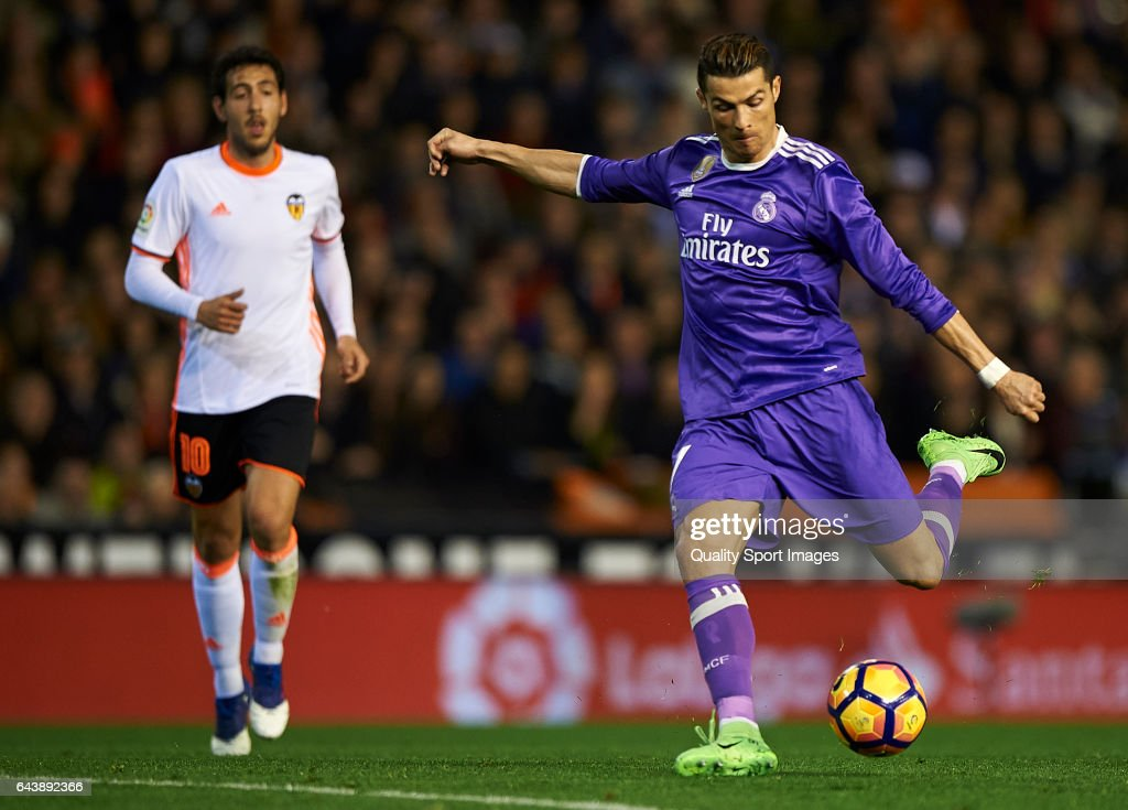 Cristiano Ronaldo of Real Madrid in action during the La Liga match between Valencia CF and Real Madrid at Mestalla Stadium on February 22, 2017 in Valencia, Spain.
