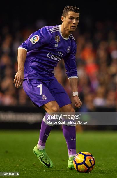 Cristiano Ronaldo of Real Madrid in action during the La Liga match between Valencia CF and Real Madrid at Mestalla Stadium on February 22 2017 in...