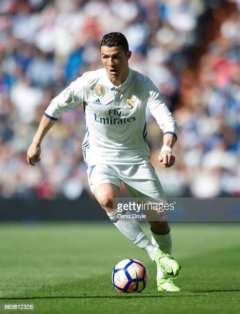 Cristiano Ronaldo of Real Madrid in action during the La Liga match between Real Madrid CF and Deportivo Alaves on April 2 2017 in Madrid Spain