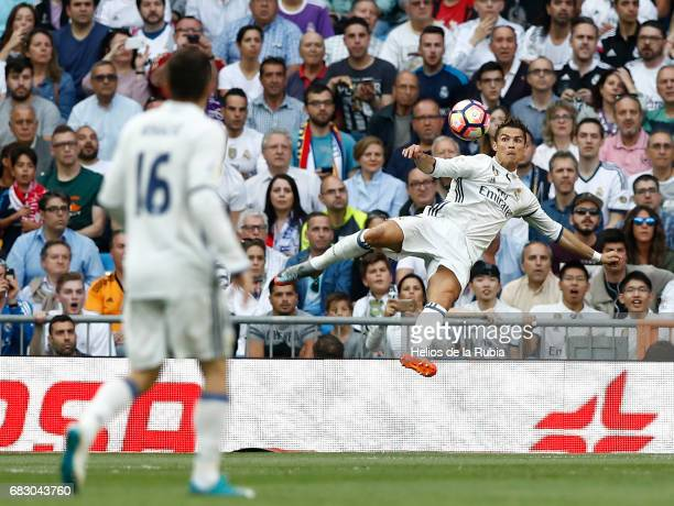 Cristiano Ronaldo of Real Madrid in action during the La Liga match between Real Madrid and Sevilla FC at Estadio Santiago Bernabeu on May 14 2017 in...
