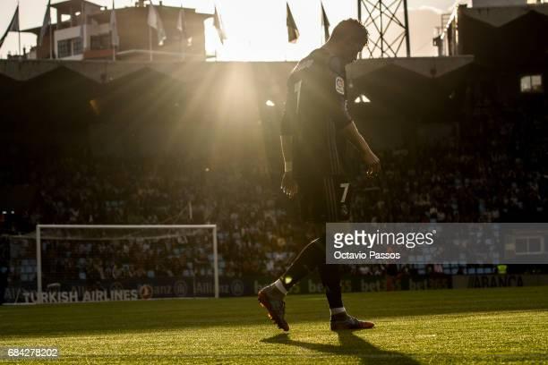 Cristiano Ronaldo of Real Madrid in action during the La Liga match between Celta Vigo and Real Madrid at Estadio Balaidos on May 17 2017 in Vigo...