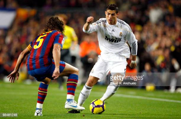 Cristiano Ronaldo of Real Madrid in action during the La Liga match between Barcelona and Real Madrid at Nou Camp on November 29 2009 in Barcelona...