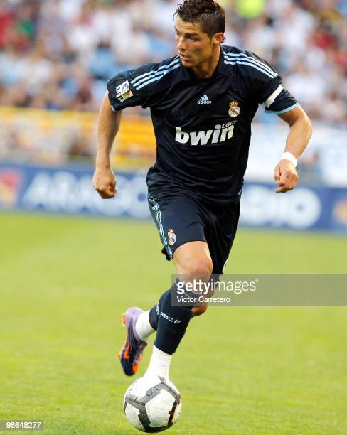 Cristiano Ronaldo of Real Madrid in action during the La Liga match between Zargoza and Real Madrid at La Romareda on April 24 2010 in Zaragoza Spain