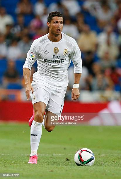 Cristiano Ronaldo of Real Madrid in action during the Santiago Bernabeu Trophy match between Real Madrid and Galatasaray at Estadio Santiago Bernabeu...