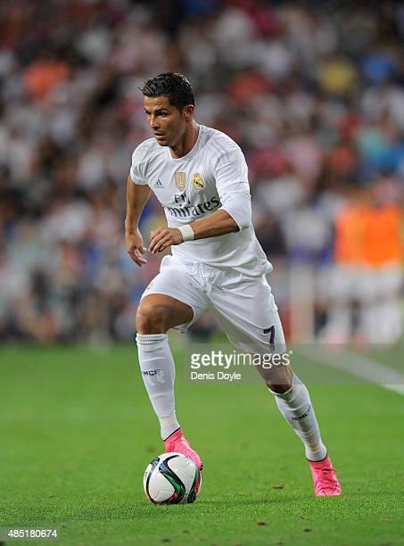 Cristiano Ronaldo of Real Madrid in action during the Santiago Bernabeu Trophy match between Real Madrid and Galatasaray at Estadio Santiago Bernabeu...