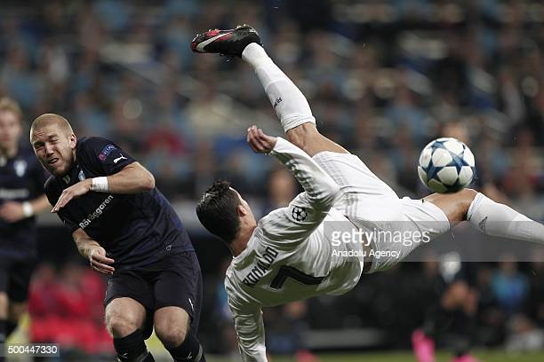 Cristiano Ronaldo of Real Madrid in action during the UEFA Champions League Group A match between Real Madrid CF and Malmo FF at the Santiago...