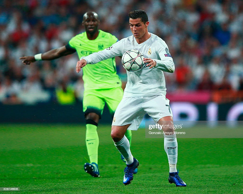 <a gi-track='captionPersonalityLinkClicked' href=/galleries/search?phrase=Cristiano+Ronaldo&family=editorial&specificpeople=162689 ng-click='$event.stopPropagation()'>Cristiano Ronaldo</a> of Real Madrid in action during the UEFA Champions League semi final, second leg match between Real Madrid and Manchester City FC at Estadio Santiago Bernabeu on May 4, 2016 in Madrid, Spain.