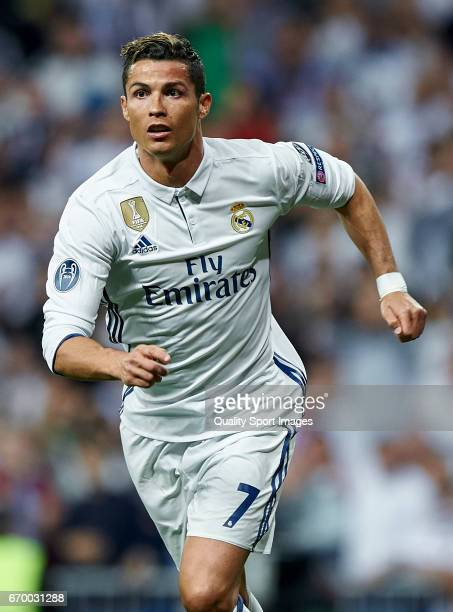 Cristiano Ronaldo of Real Madrid in action during the UEFA Champions League Quarter Final second leg match between Real Madrid CF and FC Bayern...