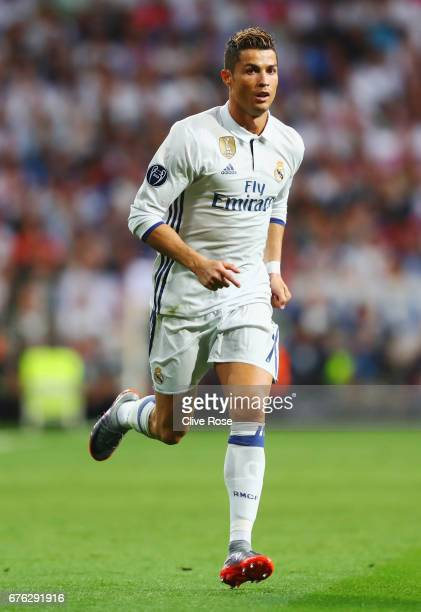 Cristiano Ronaldo of Real Madrid in action during the UEFA Champions League semi final first leg match between Real Madrid CF and Club Atletico de...