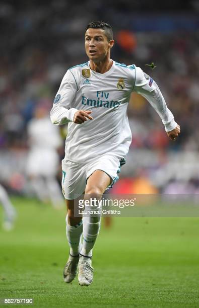 Cristiano Ronaldo of Real Madrid in action during the UEFA Champions League group H match between Real Madrid and Tottenham Hotspur at Estadio...