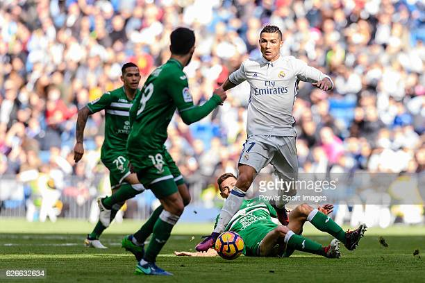 Cristiano Ronaldo of Real Madrid in action during their La Liga match between Real Madrid and Deportivo Leganes at the Estadio Santiago Bernabéu on...
