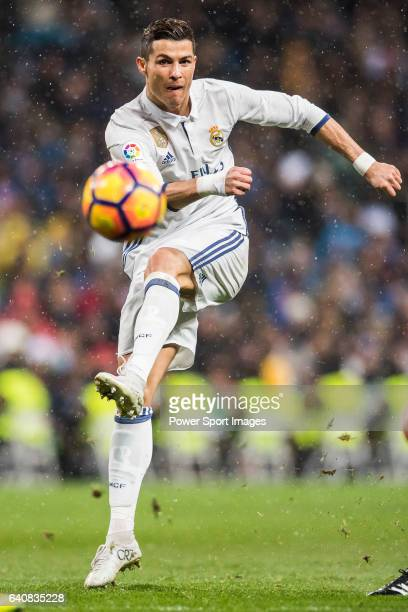 Cristiano Ronaldo of Real Madrid in action during their La Liga match between Real Madrid and Real Sociedad at the Santiago Bernabeu Stadium on 29...