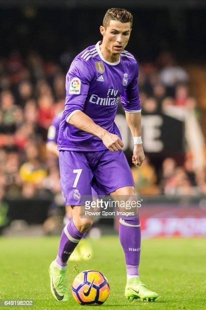 Cristiano Ronaldo of Real Madrid in action during their La Liga match between Valencia CF and Real Madrid at the Estadio de Mestalla on 22 February...