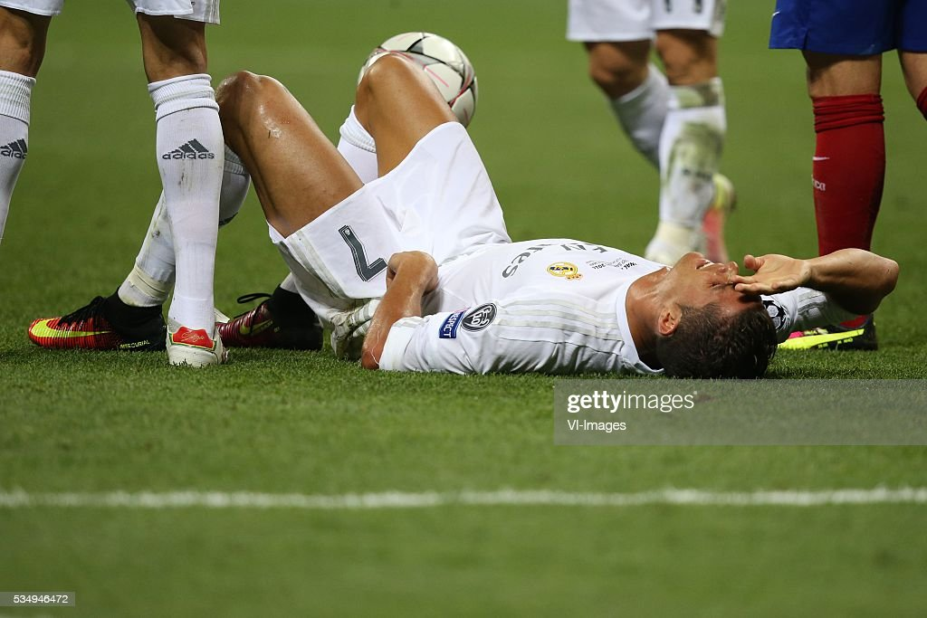 Cristiano Ronaldo of Real Madrid injury during the UEFA Champions League final match between Real Madrid and Atletico Madrid on May 28, 2016 at the Giuseppe Meazza San Siro stadium in Milan, Italy.