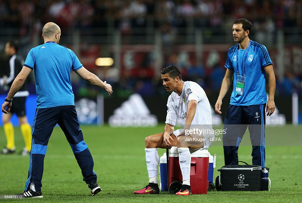 <a gi-track='captionPersonalityLinkClicked' href=/galleries/search?phrase=Cristiano+Ronaldo&family=editorial&specificpeople=162689 ng-click='$event.stopPropagation()'>Cristiano Ronaldo</a> of Real Madrid is seen after the extra time during the UEFA Champions League Final between Real Madrid and Club Atletico de Madrid at Stadio Giuseppe Meazza on May 28, 2016 in Milan, Italy..
