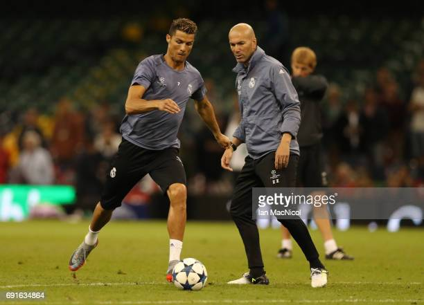 Cristiano Ronaldo of Real Madrid is seen during a training session prior to The UEFA Champions League Final between Juventus and Real Madrid at the...