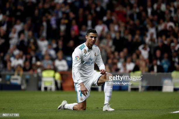 Cristiano Ronaldo of Real Madrid is seen during the La Liga match between Real Madrid and Eibar at Santiago Bernabeu Stadium on October 22 2017 in...