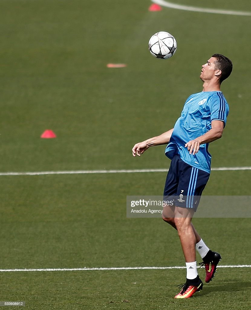 Cristiano Ronaldo of Real Madrid is seen during the training session at the Valdebebas's sports complex in Madrid, Spain on May 24, 2016. Real Madrid will face Atletico Madrid in the 2016 UEFA Champions League final at Guiseppe Meazza stadium in Milan, Italy on May 28, 2016.