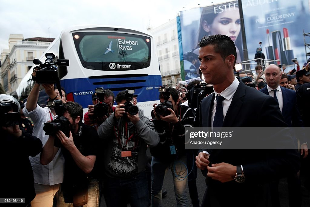 Cristiano Ronaldo of Real Madrid is seen during their visit to President of the Community of Madrid Cristina Cifuentes after Real Madrid won the UEFA Champions League Final match against Club Atletico de Madrid, at Madrid City Hall in Madrid, Spain on May 29, 2016.