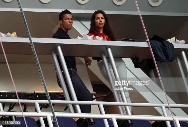 Cristiano Ronaldo of Real Madrid kisses girlfriend Irina Shayk before the La Liga match between Real Madrid and Real Zaragoza at Estadio Santiago...
