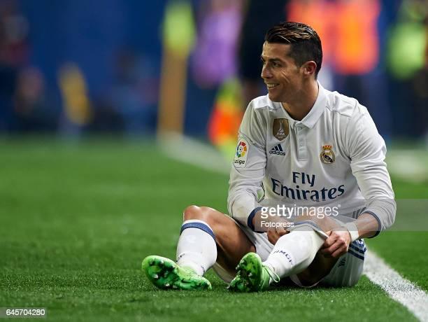 Cristiano Ronaldo of Real Madrid lies on the pitch during the La Liga match between Villarreal CF and Real Madrid at Estadio de la Ceramica on...