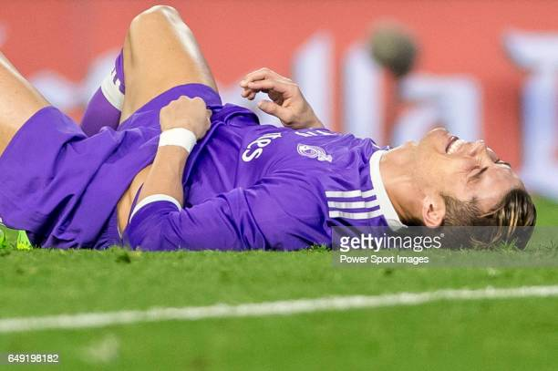 Cristiano Ronaldo of Real Madrid lies on the pitch during their La Liga match between Valencia CF and Real Madrid at the Estadio de Mestalla on 22...
