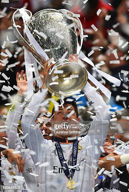 Cristiano Ronaldo of Real Madrid lifts the Champions league trophy during the UEFA Champions League Final between Real Madrid and Atletico de Madrid...