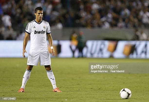 Cristiano Ronaldo of Real Madrid lines up a free kick during a World Football Challenge match between LA Galaxy and Real Madrid at The Home Depot...
