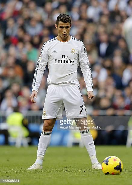 Cristiano Ronaldo of Real Madrid lines up a free kick during the La Liga match between Real Madrid and Granada CF at Estadio Santiago Bernabeu on...