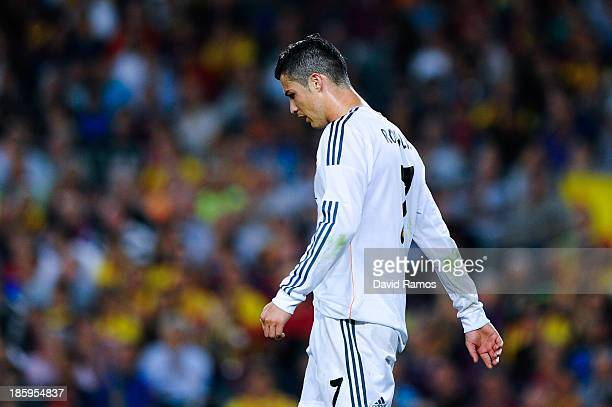 Cristiano Ronaldo of Real Madrid looks dejected after missing a chance to score during the La Liga match between FC Barcelona and Real Madrid CF at...