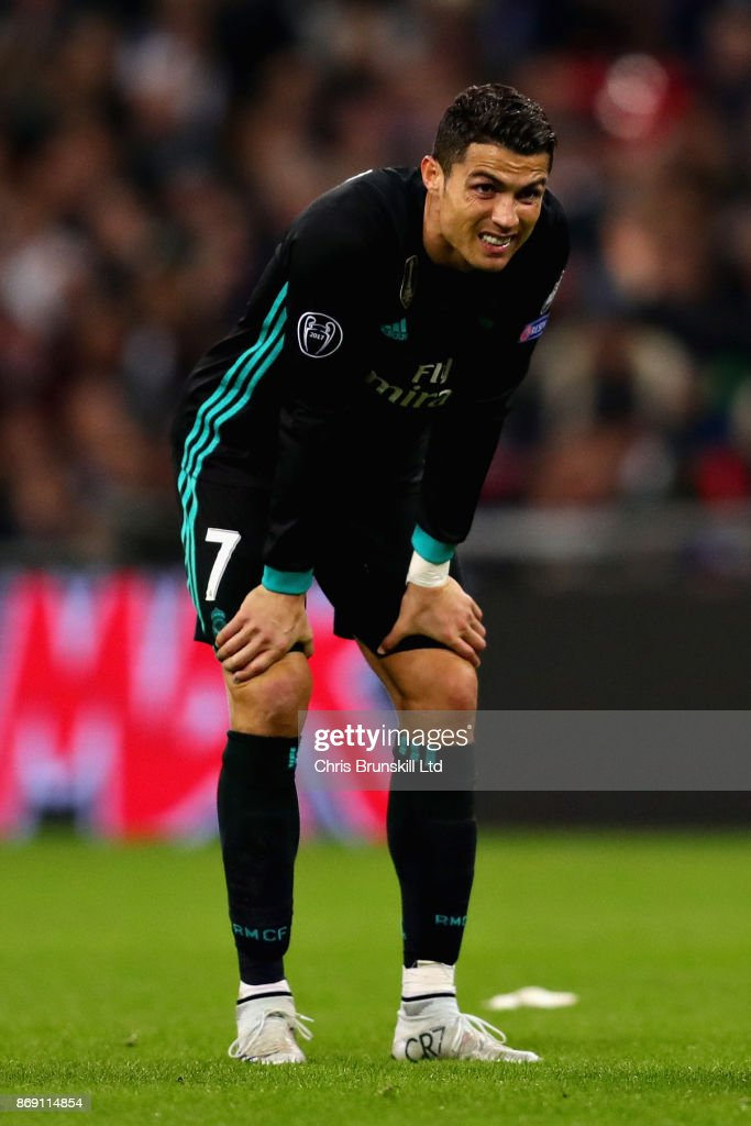 Cristiano Ronaldo of Real Madrid looks dejected during the UEFA Champions League group H match between Tottenham Hotspur and Real Madrid at Wembley Stadium on November 1, 2017 in London, United Kingdom.