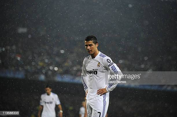 Cristiano Ronaldo of Real Madrid looks dejected during the UEFA Champions League Semi Final second leg match between Barcelona and Real Madrid at the...