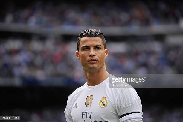 Cristiano Ronaldo of Real Madrid looks on during the La Liga match between Real Madrid CF and Levante UD at estadio Santiago Bernabeu on October 17...