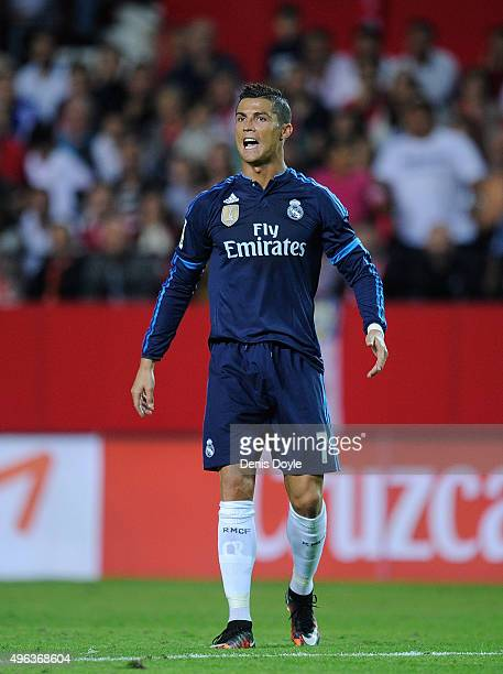Cristiano Ronaldo of Real Madrid looks on during the La Liga match between Sevilla FC and Real Madrid CF at Estadio Ramon Sanchez Pizjuan on November...