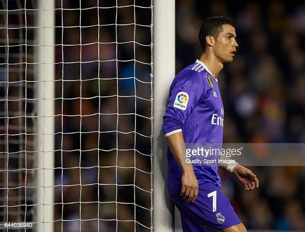 Cristiano Ronaldo of Real Madrid looks on during the La Liga match between Valencia CF and Real Madrid at Mestalla Stadium on February 22 2017 in...