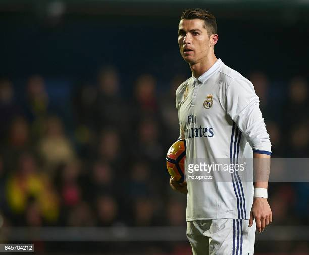 Cristiano Ronaldo of Real Madrid looks on during the La Liga match between Villarreal CF and Real Madrid at Estadio de la Ceramica on February 26...
