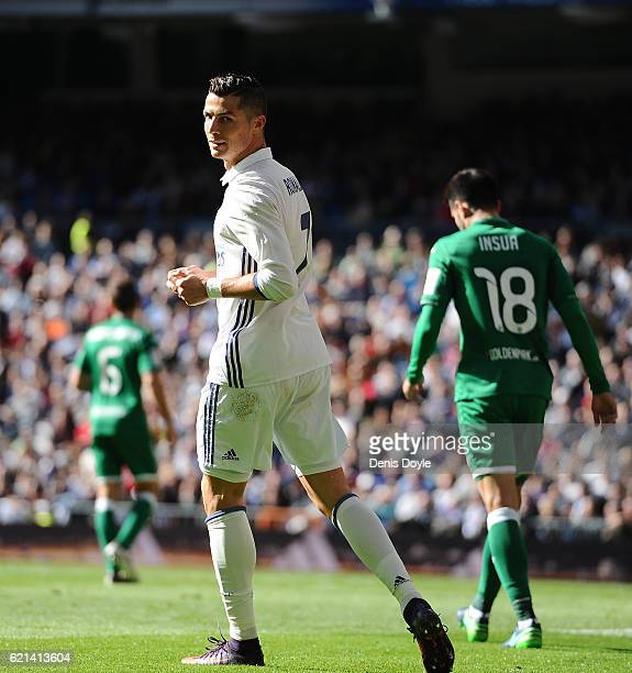Cristiano Ronaldo of Real Madrid looks on during the Liga match between Real Madrid CF and Leganes on November 6 2016 in Madrid Spain
