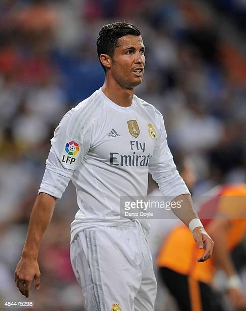 Cristiano Ronaldo of Real Madrid looks on during the Santiago Bernabeu Trophy match between Real Madrid and Galatasaray at Estadio Santiago Bernabeu...