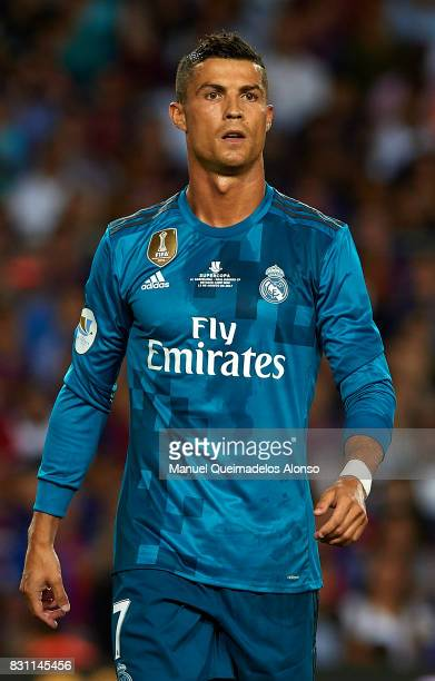 Cristiano Ronaldo of Real Madrid looks on during the Supercopa de Espana Supercopa Final 1st Leg match between FC Barcelona and Real Madrid at Camp...