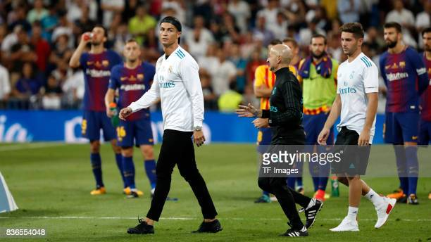 Cristiano Ronaldo of Real Madrid looks on during the Supercopa de Espana Supercopa Final 2nd Leg match between Real Madrid and FC Barcelona at...