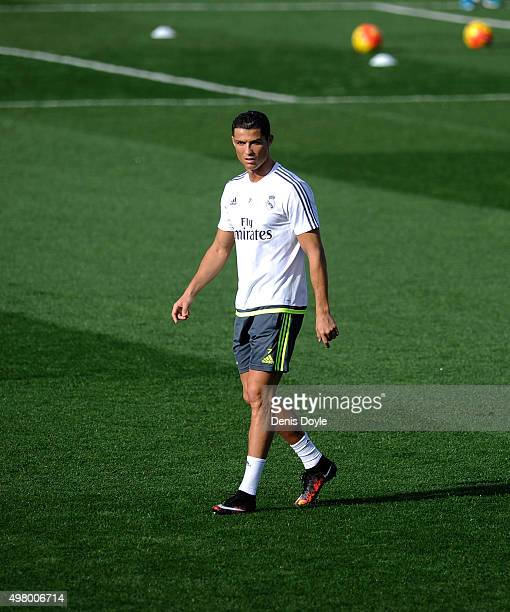 Cristiano Ronaldo of Real Madrid looks on during the team training session ahead of the La Liga match between Real Madrid and Barcelona at Valdebebas...