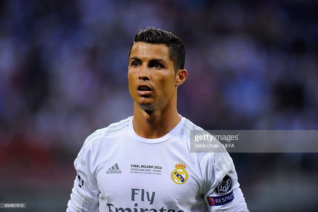 <a gi-track='captionPersonalityLinkClicked' href=/galleries/search?phrase=Cristiano+Ronaldo+-+Soccer+Player&family=editorial&specificpeople=162689 ng-click='$event.stopPropagation()'>Cristiano Ronaldo</a> of Real Madrid looks on during the UEFA Champions League Final between Real Madrid and Club Atletico de Madrid at Stadio Giuseppe Meazza on May 28, 2016 in Milan, Italy.